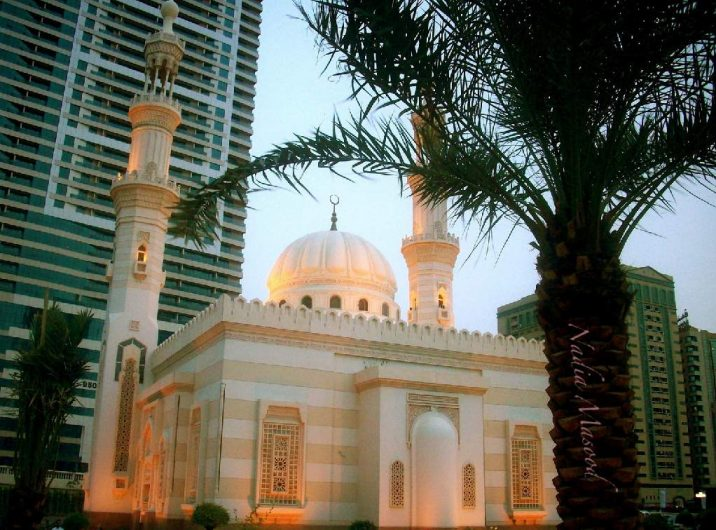 The mosque at sunset.