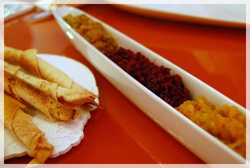 Caviar Trio (29 AED) Eggplant, beetroot and apple caviar with homemade lavash