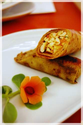 Minced Beef Pancake (32 AED) Home minced beef, rice, spices and coriander rolled in a crunchy slightly fried pancake.