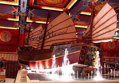 An authentic replica of the ship in which Ibn Battuta sailed across the Indian Ocean.